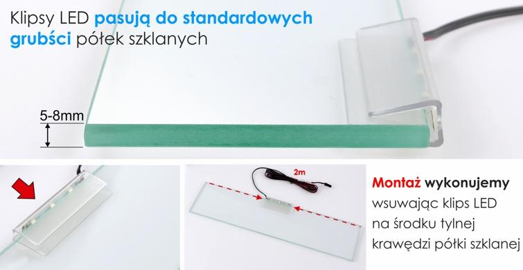 Montaż klipsa LED